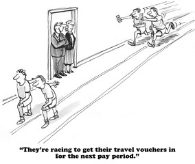 Business cartoon about expense accounts.