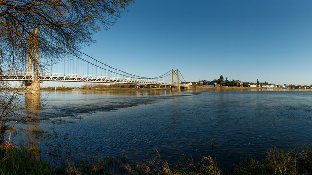 Suspension Bridge of the city of Ancienis in France