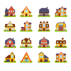 Suburban Real Estate Houses Exteriors Set