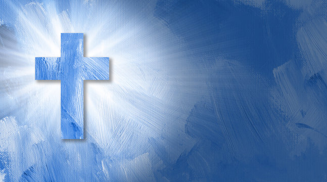 Graphic Christian cross with abstract beams of light.