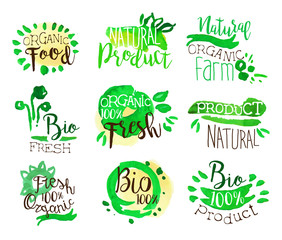 Organic Farm Food Promo Signs Colorful Set