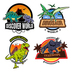 Dinosaur World Colorful Emblems