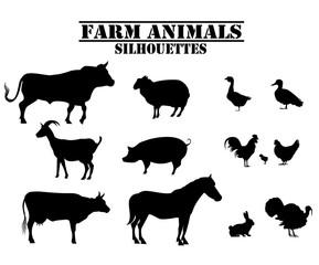 Vector farm animals silhouettes of bull, cow, turkey, rabbit, pig, rabbit, goose, duck, rooster, chicken, horse, sheep, goat, chicken.