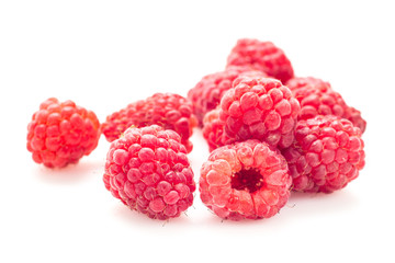 Ripe raspberry isolated on a white background