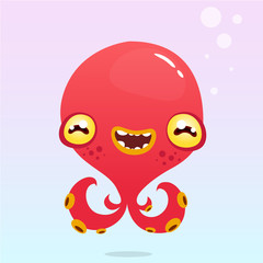 Happy cartoon octopus. Vector Halloween red monster with tentacles isolated