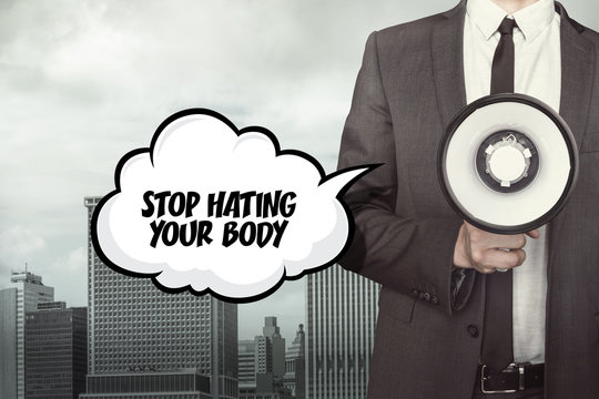 text on speech bubble with businessman and megaphone