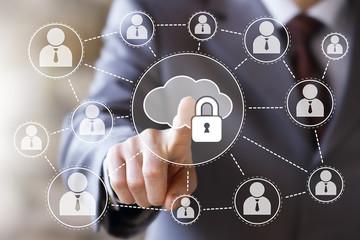 Businessman push web button cloud lock sign network