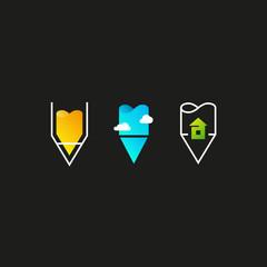 Design and architecture logo set. Pencil vector logo. Design template. Vector illustration on dark background.