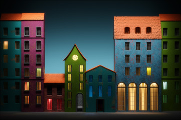 Night in Old town cartoon style. 3D illustration