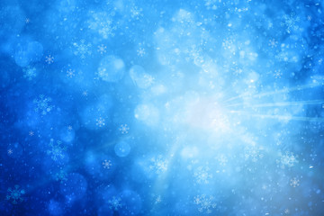 Conceptual abstract winter season greeting card illustration background with snowflakes, light rays and place for message.