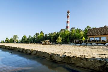 Views Osinovetskiy lighthouse on the shore of lake Ladoga. Russi