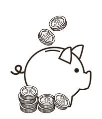 piggy coin money financial sketch icon. Black white isolated design. Vector illustration