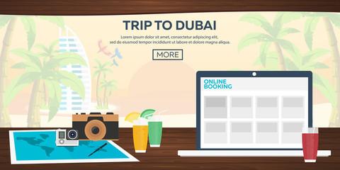 Travel illustration. Flat vector. Time to travel. Sunset. Airplane. Beach bar. Sea. Dubai