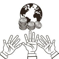 hand planet coins money financial sketch icon. Black white isolated design. Vector illustration