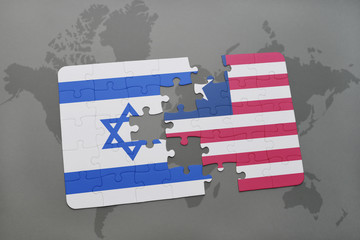 puzzle with the national flag of israel and liberia on a world map background.