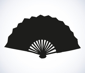 Folding fan. Vector sketch