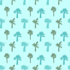 Palm Tree Seamless Pattern Vector Illustration.