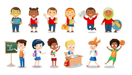 Set of cheerful school children flat icons isolated on white background. School boys and girls cartoon vector illustration. Group of students