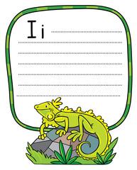 Little iguana for ABC. Alphabet I
