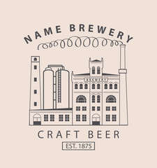vector banner with the image of the brewery building in retro style