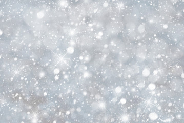 Silver Christmas Background With Snwoflakes, Bokeh And Stars, Blue Color