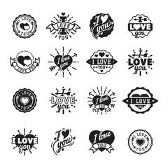 I love You vector logo badges