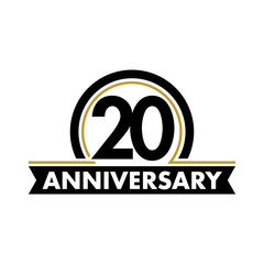 Anniversary vector unusual label. Twentieth anniversary symbol. 20 years birthday abstract logo. The arc in a circle. 20th jubilee.