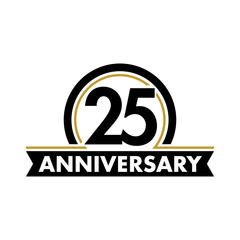 Anniversary vector unusual label. Twenty-fifth anniversary symbol. 25 years birthday abstract logo. The arc in a circle. 25th jubilee.