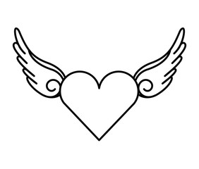 wing fly drawing tattoo style isolated icon