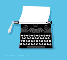 Vintage typewriter with a piece of paper in it, EPS vector illustration, no transparencies