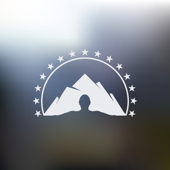 Isolated abstract mountain with human silhouette vector logo. Man outline with hill landscape. Snowy peak illustration.