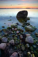Coastal Sunset, Huge Boulders in the Baltic Sea, Rugen Island, Germany