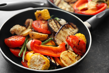 Grilled vegetables on pan, closeup
