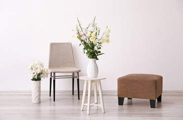 Beautiful flower bouquets in modern interior