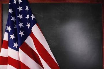 American flag on blackboard