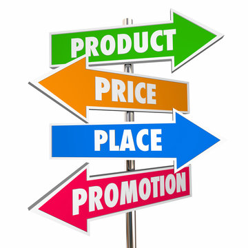 Product Price Place Promotion 4 Ps Marketing Signs 3d Illustrati