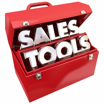 Sales Tools Selling Resources Toolbox Words 3d Illustration
