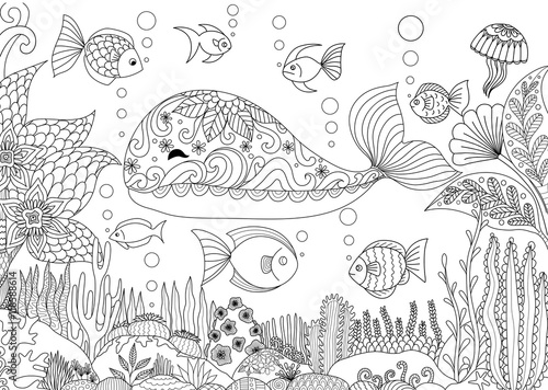 Volwassen Kleurplaten Schildpad Quot Doodles Design Of A Little Whale Under The Sea With