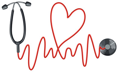 Stethoscope and heartbeats graph