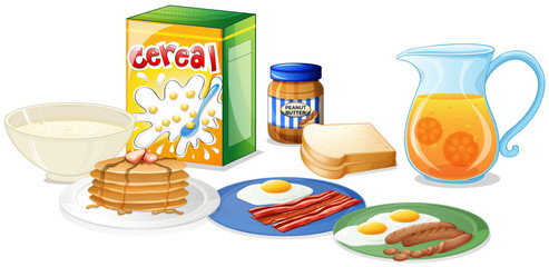 Many kinds of food for breakfast