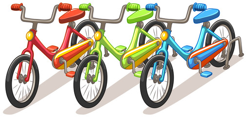 Three bicycles in different colors