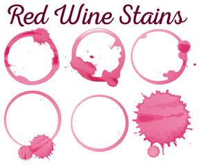 Six diffferent red wine stains