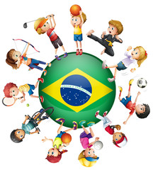 Children do different sports and Brazil flag