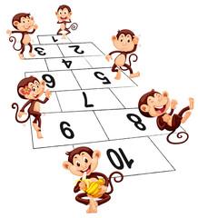 Six monkeys playing hopscotch