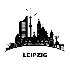 Leipzig Skyline Schattenriss Denkmäler Kultur Sehenwürdigkeiten Wandtatoo Völkerschlachtdenkmal Thomaskirche Friedenssäule City-Hochhaus Leipziger Rathaus