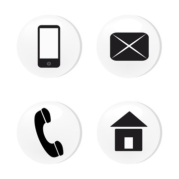 Vector contact buttons email, phone, mobile, address, icons, eps, jpg. White and black.