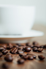 close up coffee beans on wood table