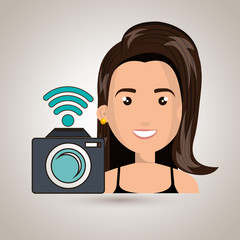 woman camera photography wifi vector illustration eps 10
