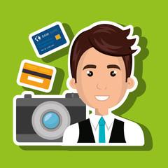 character camera photography and credit card vector illustration
