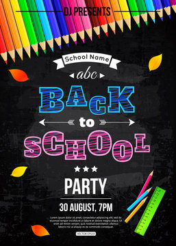 Back to school party poster template
